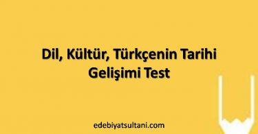 dil, kültür, Türkçenin tarihi gelişimi test